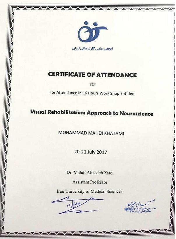 ورکشاپ 16 ساعته  توانبخشی بینایی بر مبنای علوم اعصاب  شناختی